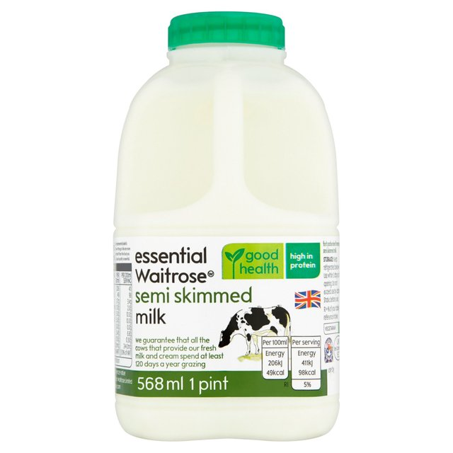 Essential Waitrose Semi Skimmed Milk 1 Pint