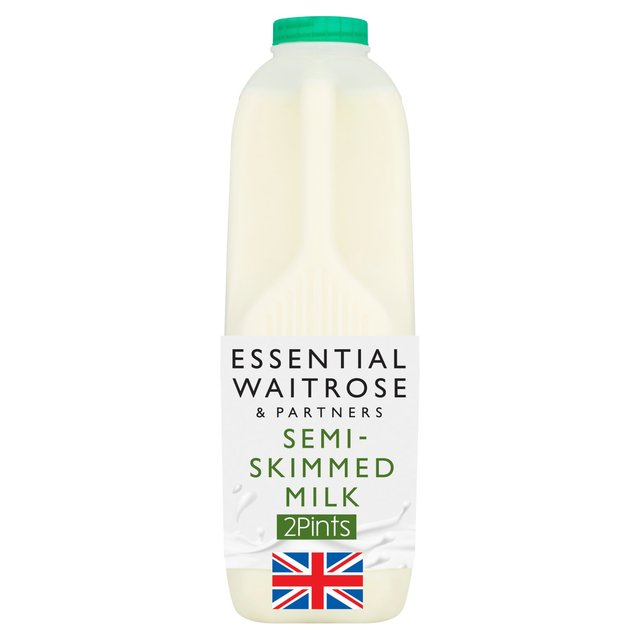 Essential Waitrose Semi Skimmed Milk 2 Pint