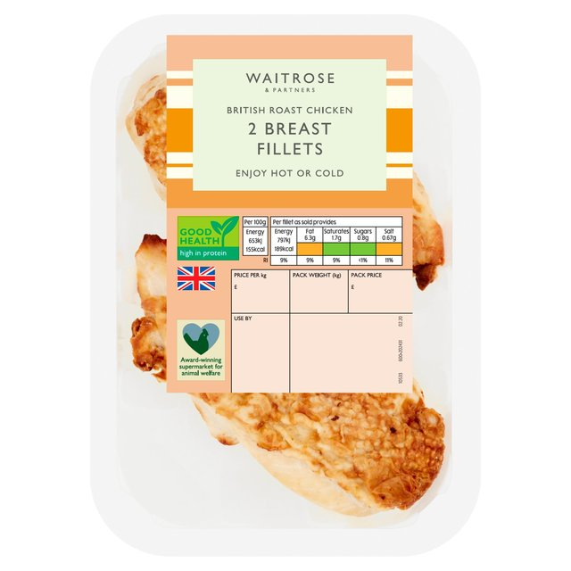 Waitrose British 2 Roast Chicken Breast Fillets | Ocado