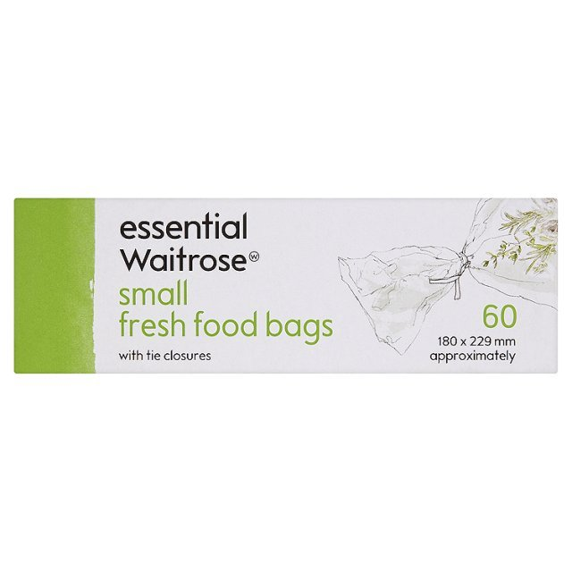 Small Food Bags with Tie Closures 180x229mm essential Waitrose