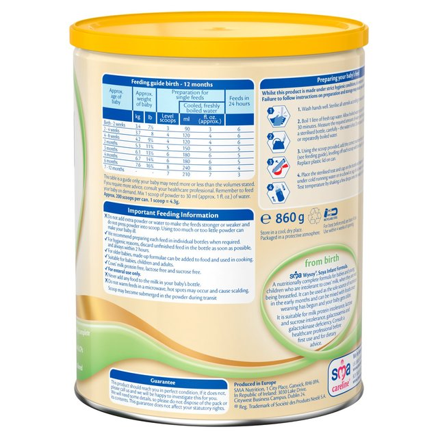 SMA Wysoy Infant Formula Powder 860g from Ocado