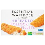 Essential Waitrose 4 Frozen breaded pollock fillets