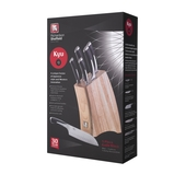 Richardson Sheffield Natural Wood Kyu Asian 6 Piece Knife Block