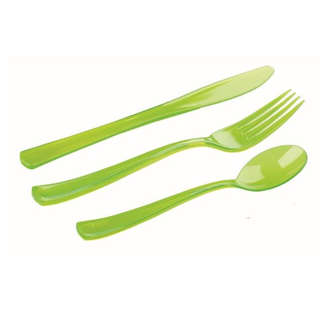 Mozaik Plastic Cutlery Pack Green