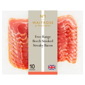 Waitrose 1 Free Range Beech Smoked Streaky Bacon Air Matured