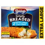 Young's 2 Extra Large Breaded Cod Fillets Frozen