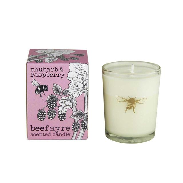 Beefayre Rhubarb & Raspberry Scented Glass Small Candle