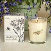 Beefayre Honey Lily Scented Glass Small Candle