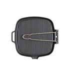 Chasseur Cast Iron Square Griddle Pan with Folding Handle
