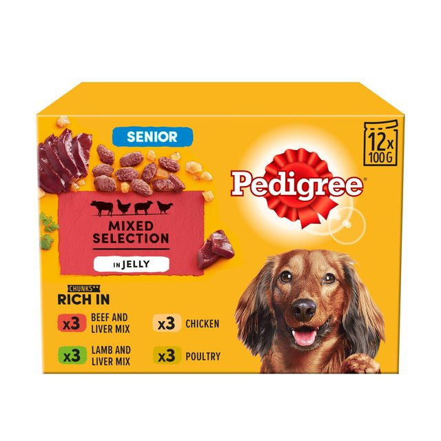 Pedigree Senior Dog Food Pouches Meat In Jelly 12 X 100g From Ocado