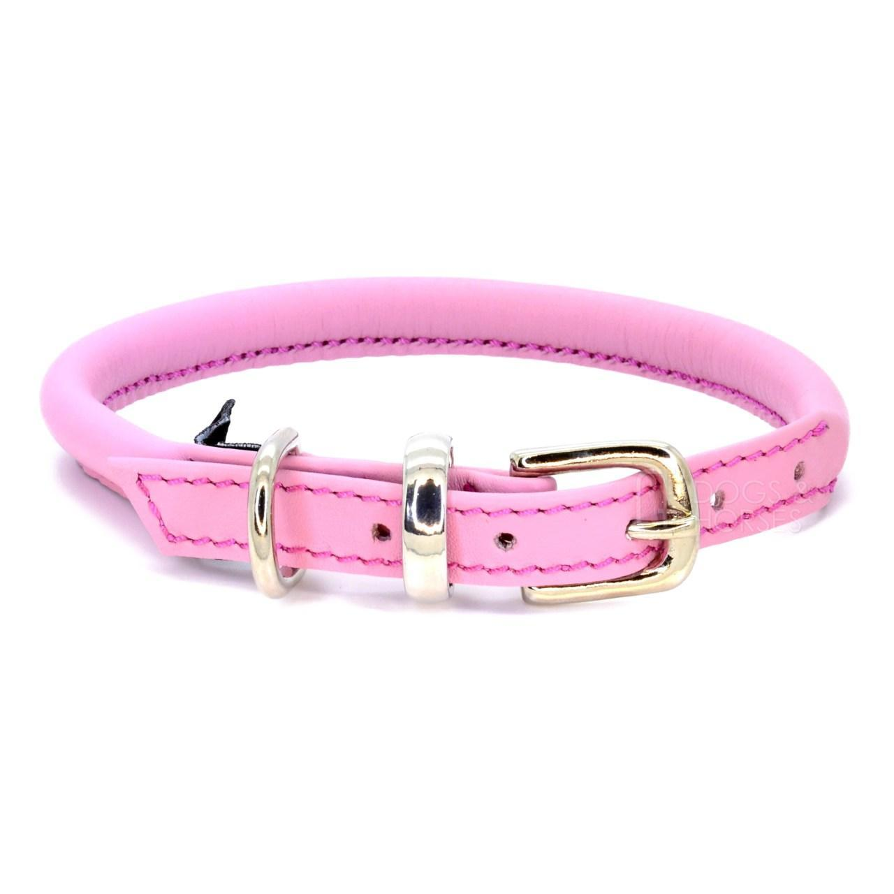 Fetch Pink Rolled Leather Dog Collar