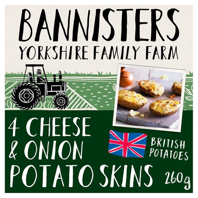 Bannisters Farm 4 Cheese Onion Baked Potato Skins Ocado