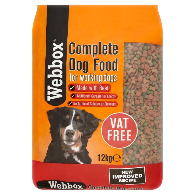 Webbox complete dog food for working dogs with beef 12kg for Akc dog food