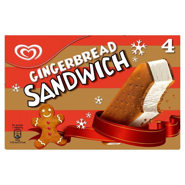 Ocado: Walls Gingerbread Ice Cream Sandwich 400ml(Product Information)