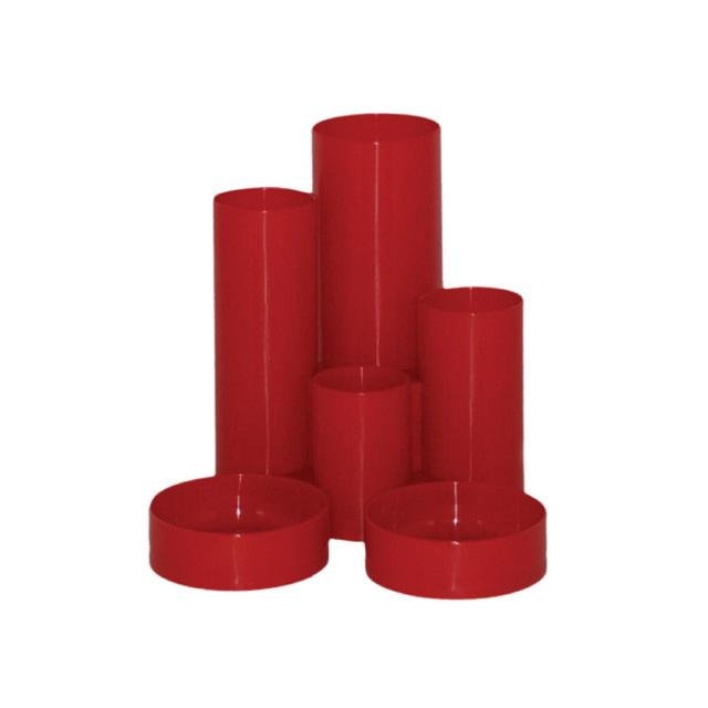 Staples Tube Desk Tidy Pen Pot, Red