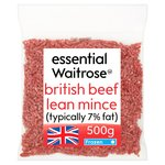 Essential Waitrose Frozen Beef Lean Mince (typically 7% Fat)