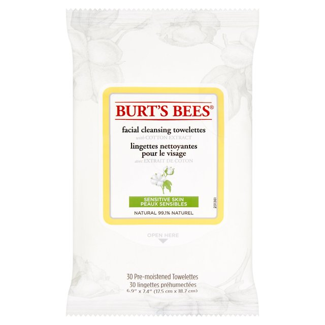 Burt's Bees Sensitive Facial Cleansing Wipes with Cotton Extract, 30
