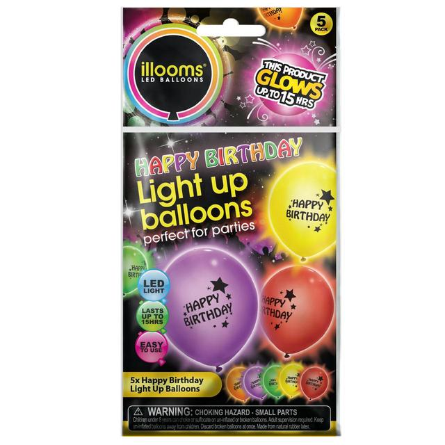 Multicoloured Light Up Happy Birthday Balloons 5 X 1 Per Pack
