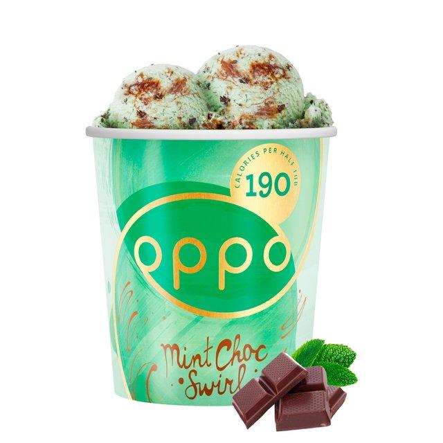 oppo mint chocolate swirl with spirulina ice cream 500ml