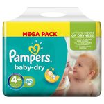 Pampers Baby Dry Nappies Size 4+ Mega Pack