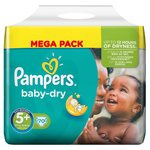 Pampers Baby Dry Nappies Size 5+ Mega Pack