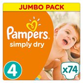 Pampers Simply Dry Nappies Size 4 Jumbo Pack