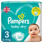 Pampers Baby-Dry Size 3, 50 Nappies