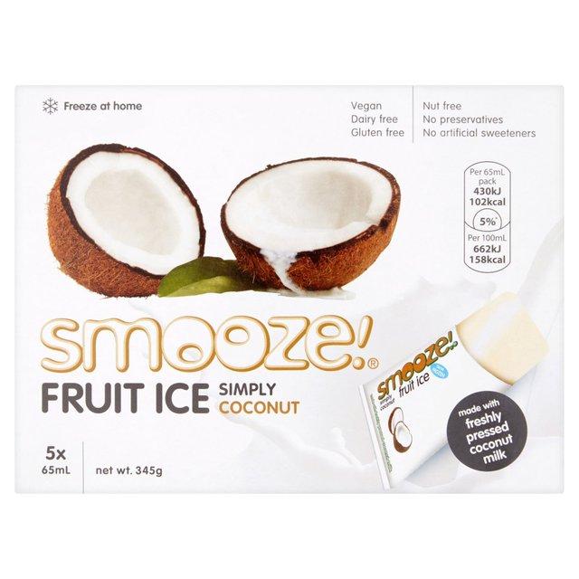 smooze simply coconut fruit ice lollies 5 x 65ml from ocado