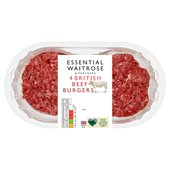 4 British Beefburgers essential Waitrose