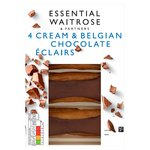Essential Waitrose Cream & Belgian Chocolate Eclairs