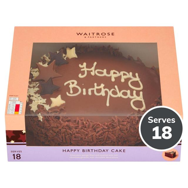 Fabulous Waitrose Happy Birthday Chocolate Cake 18 Servings Ocado Funny Birthday Cards Online Fluifree Goldxyz