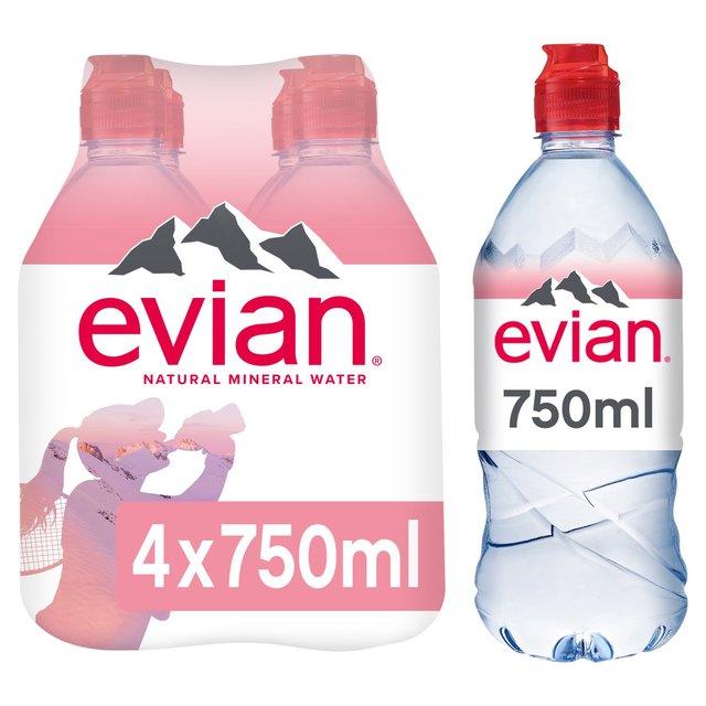 0e5a9dd0e0 Evian Still Mineral Water Sports Cap 4 x 750ml from Ocado