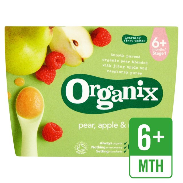 Organix Organic Fruit Puree Pear, Apple & Raspberry