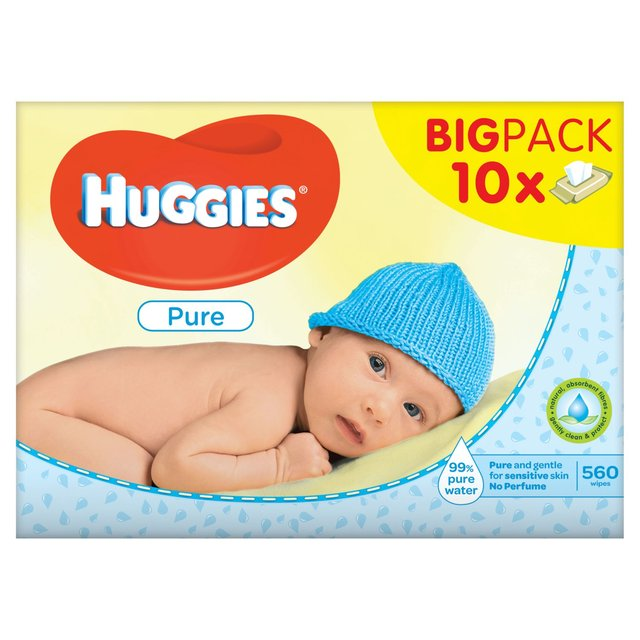 huggies pure baby wipes 10 x 56 per pack from ocado
