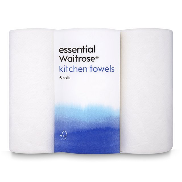 White Kitchen Towel: Essential Waitrose Kitchen Towel White 6 Per Pack From Ocado