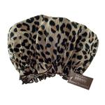 Hydrea London Eco Friendly PEVA Shower Cap, Leopard Print