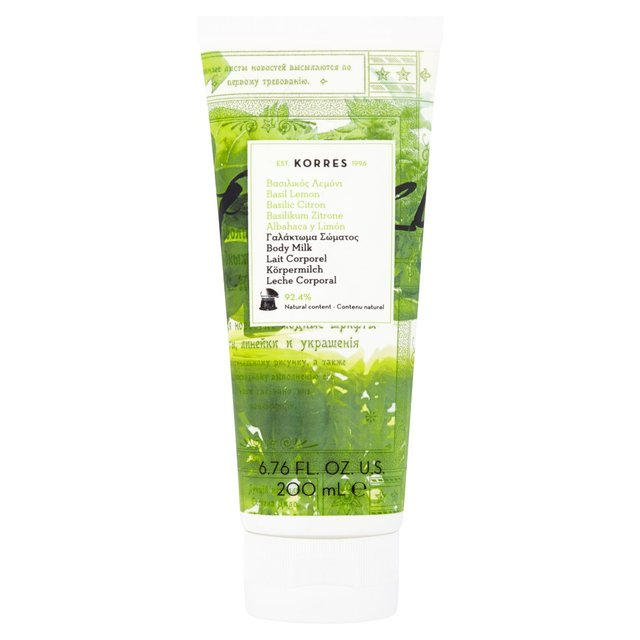 Korres Natural Basil Lemon Body Milk, Vegan