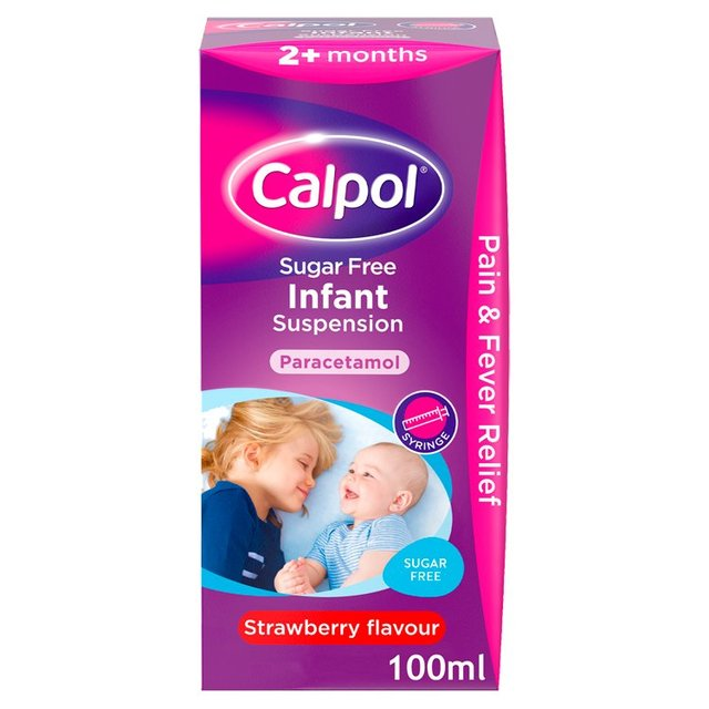 Calpol Infant Sugar Free Strawberry Liquid 2 Mths 100ml