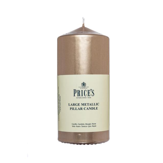 Price 39 s metallic pillar candle large gold from ocado for Shimmer pillar candle