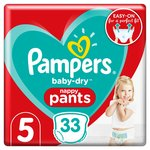 Pampers Baby-Dry Pants Size 5, 33 Nappy Pants, Essential Pack
