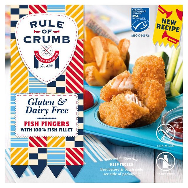 Rule of crumb gluten free breaded cod fish fingers 240g for Gluten free fish breading