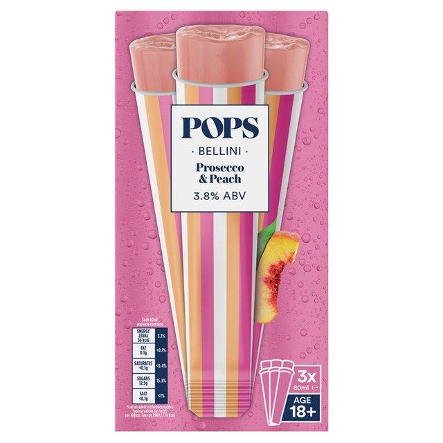 Pops Bellini Prosecco Ice Popsicle 3 x 110ml from Ocado
