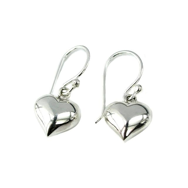 Sterling Silver Tiny Puff Heart Earrings