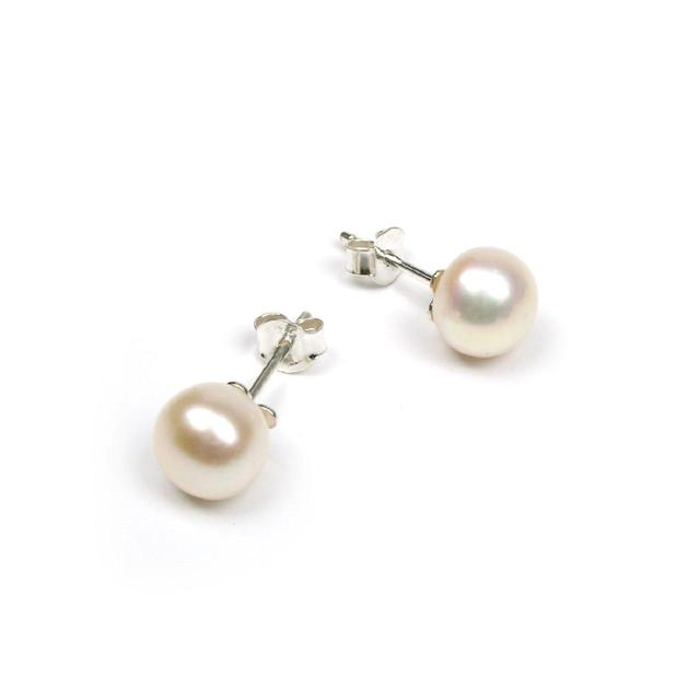 Sterling Silver White Freshwater Pearl Stud Earrings Ocado