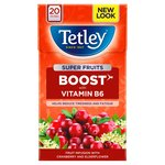 Tetley Super Fruits Tea Boost Cranberry & Elderflower Tea Bags