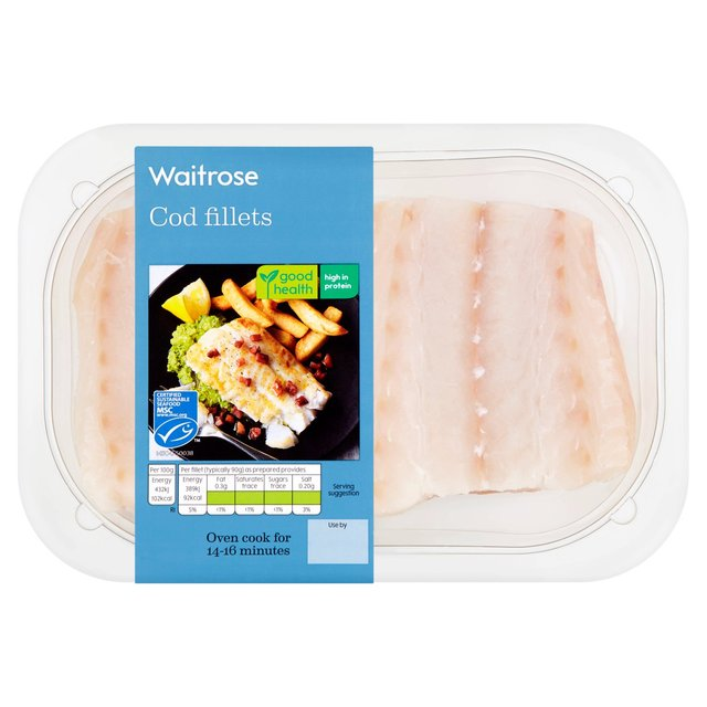 Waitrose skinless boneless cod fillets 240g from ocado for Cod fish nutrition