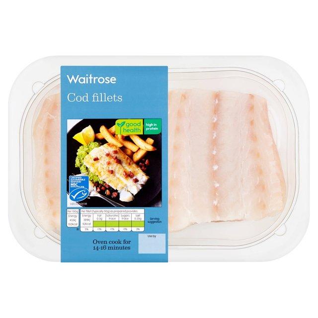 Waitrose skinless boneless cod fillets 240g from ocado for Cod fish protein