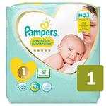 Pampers Premium Protection Size 1, 22 Nappies