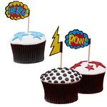 Ginger Ray Comic Book Superhero Party Cupcake Sticks