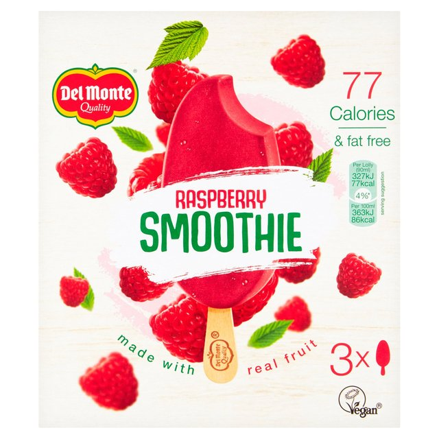 Del Monte Raspberry Smoothie Ice Lollies 3 X 90ml From Ocado